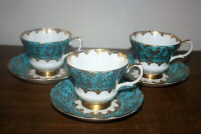 Very Rare Trio Of Royal Albert  Consort Series - Turquoise  Tea Cups & Saucers • 19.95£