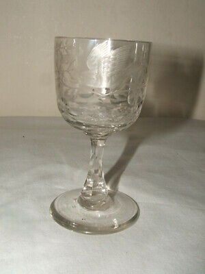 Victorian/ Georgian Facet Cut Lead Etched Bird Crystal Glass Truly Stunning • 14.99£