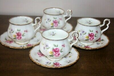 Very Pretty Set Of 4 Royal Albert  Tenderness  Bone China Cups & Saucers • 19.95£