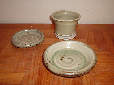 3 X RUSTIC GREY & GREEN GLAZED POTTERY POTS / DISHES ARTISAN POTTERS • 2.50£