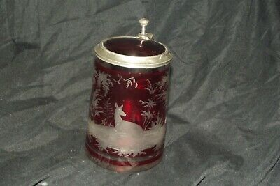 Antique Victorian Red Ruby Glass Lidded Tankard Bohemian 5.  • 16£