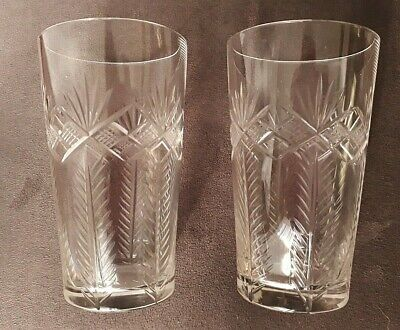 A Pair Of Antique Edwardian Cut Glass Tumblers • 6£