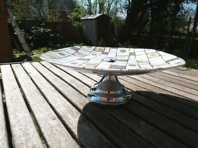 Lovely Vintage Ceramic & Chrome Cake Stand By Midwinter Home Spun By Jessie Tait • 7.99£