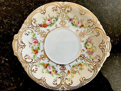 Antique Staffordshire Cake Plate Hand-Painted Possibly H & R Daniel (?) • 24.99£