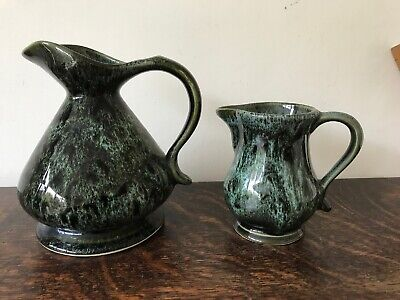 VINTAGE FOSTER'S POTTERY CORNWALL HONEYCOMB JUGS GREEN 1970's RETRO VGC • 15£