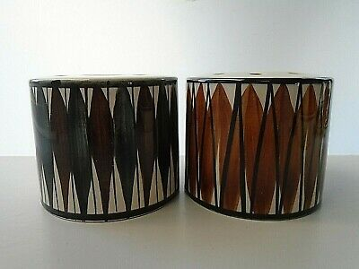 Pair Of Similar Jersey Pottery Vintage Drum Shape Potpourri Vases. • 10£