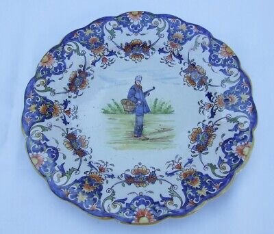 Superb French Faience Rouen Pottery Plate Signed Bagnoles • 15£