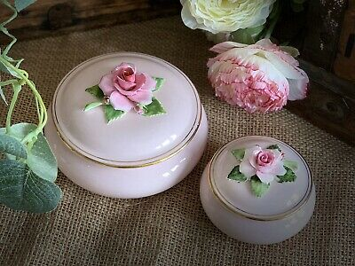 Vintage Royal Adderley Floral Trinket Boxes X Two Mad Hatters Tea Party Pots • 25£