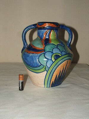 Phoenix Ware Art Deco Abstract Serville Design  Twin Handled Vase Truly Fabulous • 24.99£