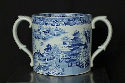 Antique Blue And White Two Handled Pot • 19£