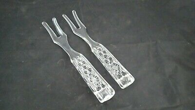 Vntg Fostoria American Quilted Diamond Crystal Glass Salad PAIR Of Serving Forks • 7.17£