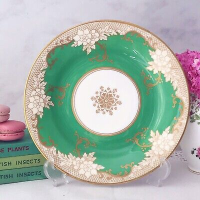 Crown Staffordshire Green And Gilt Cabinet Dessert Plate 9 Inches • 22£