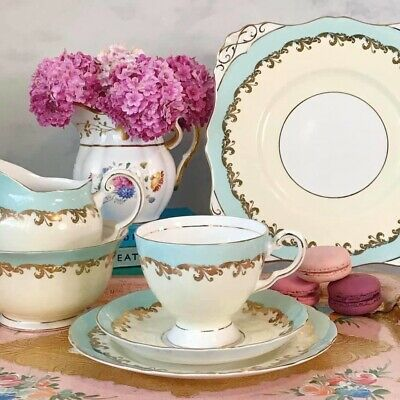 Tuscan Tea Set Turquoise And Pastel Yellow - Cake Plate, Trios, Milk Jug And Sug • 11.50£