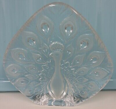Vintage Large Mats Jonasson Glass Peacock Paperweight  • 60£