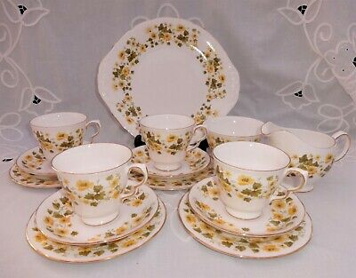 Queen Anne China Tea Set Ashley Yellow Flowers 4 Settings • 25£