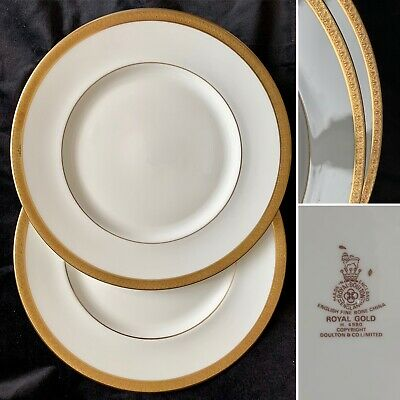 Royal Doulton Royal Gold Dinner Plates X TWO! H4980 (Made In England) • 25.99£