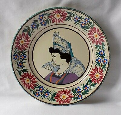 Vintage Hb Quimper Faience Pottery Plate. Hand Painted Lady.  Floral Border. • 16.99£