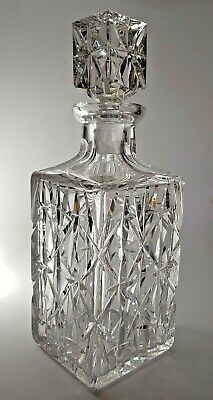 Heavy Quality Contemporary Cut Crystal Square Whiskey Spirit Decanter 11  • 32.50£