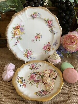 Hammersley Antique Hand-painted Dresden Sprays Plate & Lady Patricia Tea Saucer • 24.99£