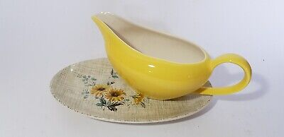 Vintage Meakin Sol Summertime - Yellow Daisies - Gravy Sauce Boat & Underplate • 13.50£