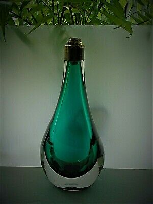 Rare 60s Vintage Whitefriars Glass Table Lamp Base In Green Encased In Clear • 120£