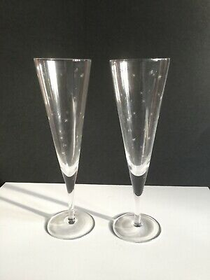 2 Vintage Champagne Flutes Glasses Etched With STARS -  10  Tall • 16£