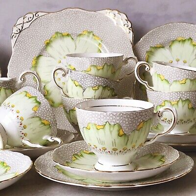 Tuscan Green Lotus Vintage Tea Set. Teacup Trios And Cake Plate, Sold Individual • 18£