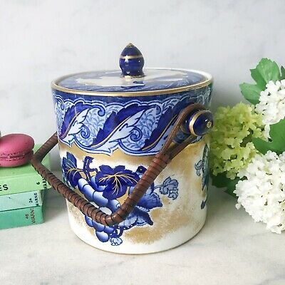 Losol Ware Armado Biscuit Barrel By Keeling And Co Burslem. Cobalt And Gilt With • 40£