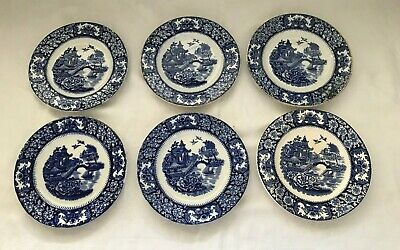 6 X Vintage Blue & White Side Plates By Olde Alton Ware Japanese Pagoda  SL219 • 14.99£