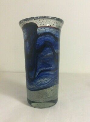 HADELAND Norway WILLY JOHANSSON Clear / Blue / Black Air Bubbles Vase Signed • 150£