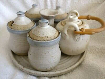 Rare Retro Rustic Japanese Stoneware Ceramic 6 Piece Tea Pot Cups Base Set  • 29.99£