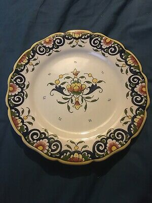 Lovely Vintage French Faience Rouen Plate 'Fait Main' • 6£