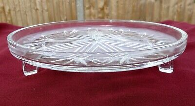 Vintage 3 Footed Cut Glass Cake Plate / Stand • 4.99£