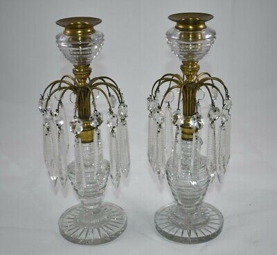 Pair Of Crystal Girandolle Candle Sticks With Waterfall Prism Drops • 75£