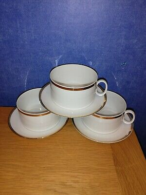 Thomas China Thick Gold Band  Shallow Cups & Saucers X 3 • 8£