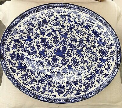 BURGESS & LEIGH BURLEIGH WARE LARGE, OVAL 'CHINESE PEACOCK' DESIGN PLATE, 1930's • 19.99£