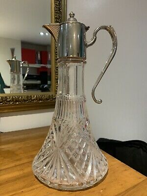 """Cut Glass & Silver Plated Decanter 12"""" High • 9.50£"""