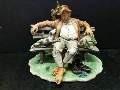 Capodimonte Tramp On A Bench With Dog Vintage Rare And Large Ceramic Sculpture • 5.99£