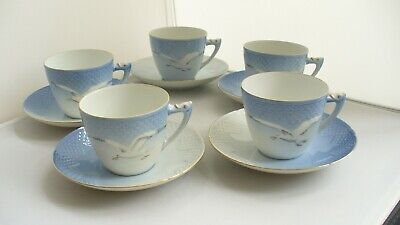 Bing & Grondahl Danish Porcelain Seagull 102 Five Cups & Saucers Second Quality • 40£