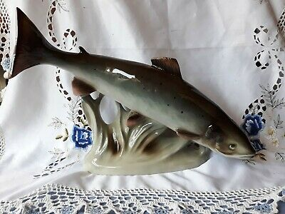 Royal Dux Porcelain Large Trout In Beautiful Condition • 65£