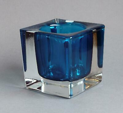 Vintage CHUNKY Clear/Turquoise GLASS VASE Or DESK TIDY Retro Moulded - 70s/80s • 4.20£