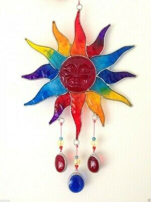 Suncatcher Sun Rainbow Colours With Beads Wire And Resin 30cm • 9.99£