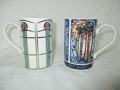 Two Dunoon Pottery Mugs Mackintosh Designs  By Joanne Triner & Caroline Bessey  • 12£