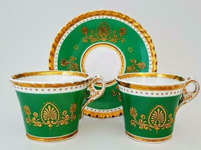 Antique Chamberlain Worcester Raised Gold Cabinet Tea Cup & Saucer Trio C1830 • 28£