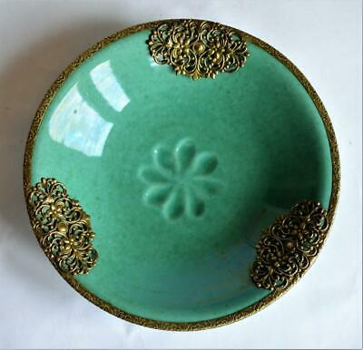 Interesting Chinese Oriental Iridescent Mottled Green Pottery Dish Bowl • 9.99£