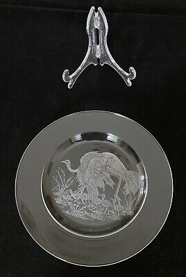Hand Engraved Glass Plate Ostrich And Chicks • 1£