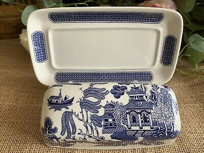 Churchill Blue Willow Butter Dish Blue & White Staffordshire England NEVER USED! • 25.99£