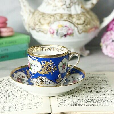 Antique French Cup And Saucer Duo, Poss Sevres Or Paris Porcelain, Blue And Gilt • 150£