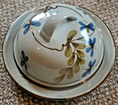 Lochinver Highland Stoneware Pottery Floral Design Small Cheese/butter Dish • 30£