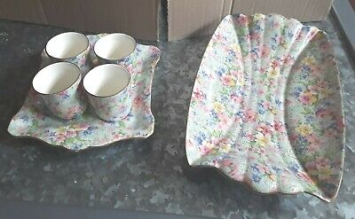 Royal Winton Marion Chinz Egg Cups And Stand With Additional Small Bowl • 15£